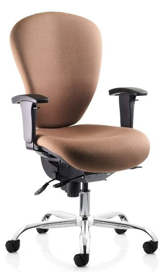 SP1/M8/AL/B3/L/SS/HD High back operator chair, synchro seat and back action, height adjustable arms, chrome base, inflatable lumbar, seat slide, heavy duty chair, optimal weight load 40 stone / 254 kg, upholstered in band 1 fabric £398.00 +vat