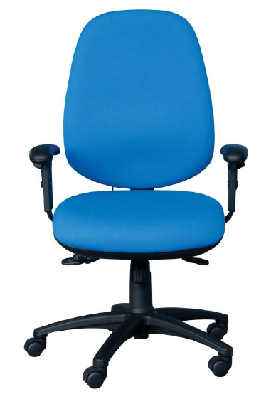 High back task chair with independent seat & back mechanism, ratchet back height adjustment, height adjustable arms, inflatable lumbar support & seat slide. Black base. Upholstered in Omega Plus Onyx (Black) fabric.