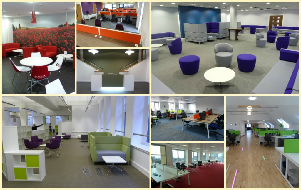 A collection of our installations using colours to create a productive workplace.