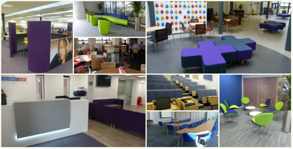 Z2 reception,Cris Cross recption seating, Acoustic pods, giggle chairs, furniture for colleges and education centres, schools