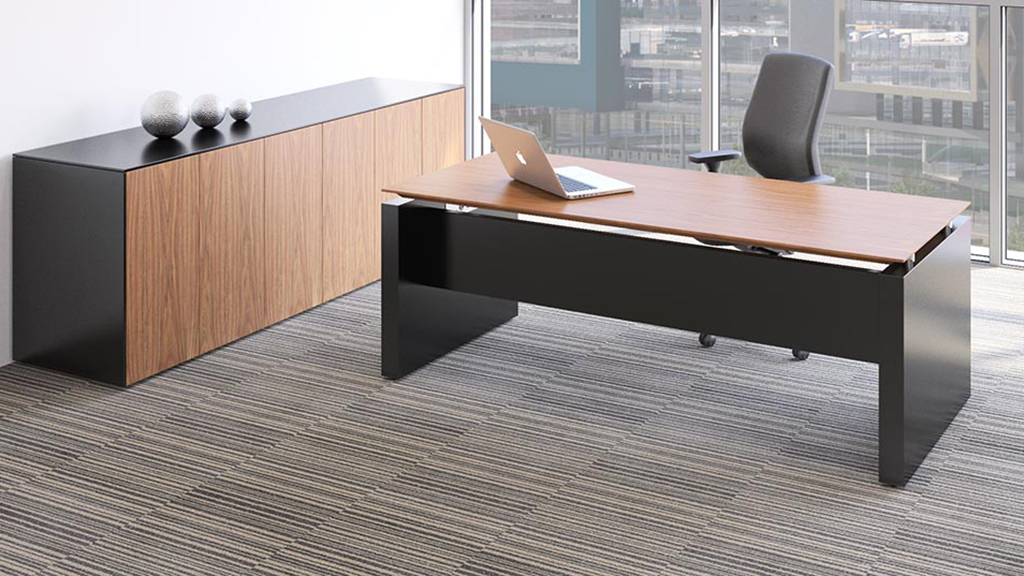 Wanut rectangular fulcrum executive desk - Executive Desks - Office Desks - Contemporary Desks