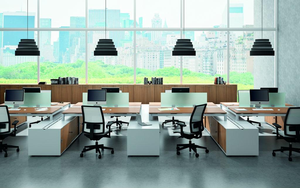 Officity X4 Bench Desks x4 Office