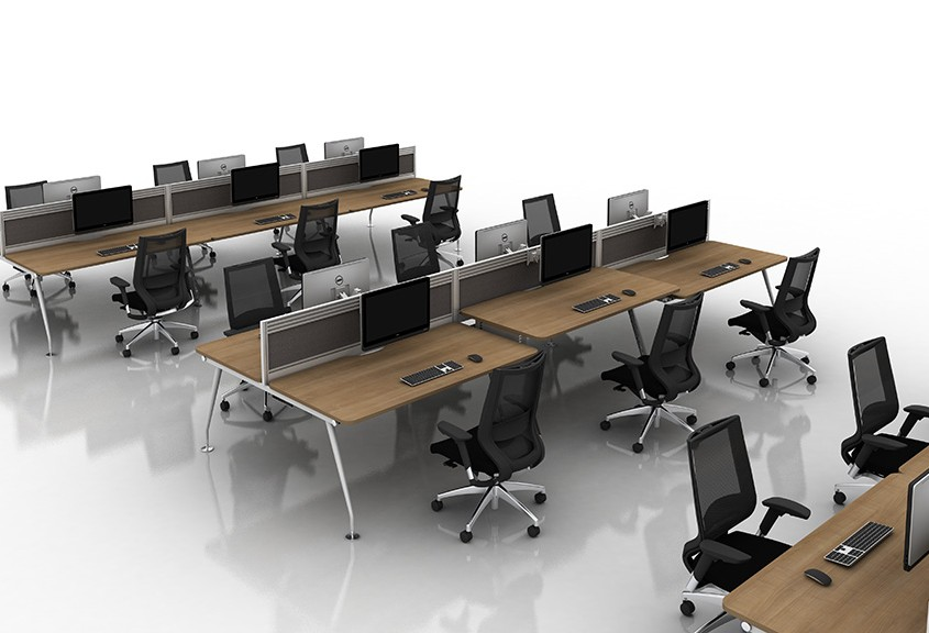 Vega walnut bench desks in a six person function