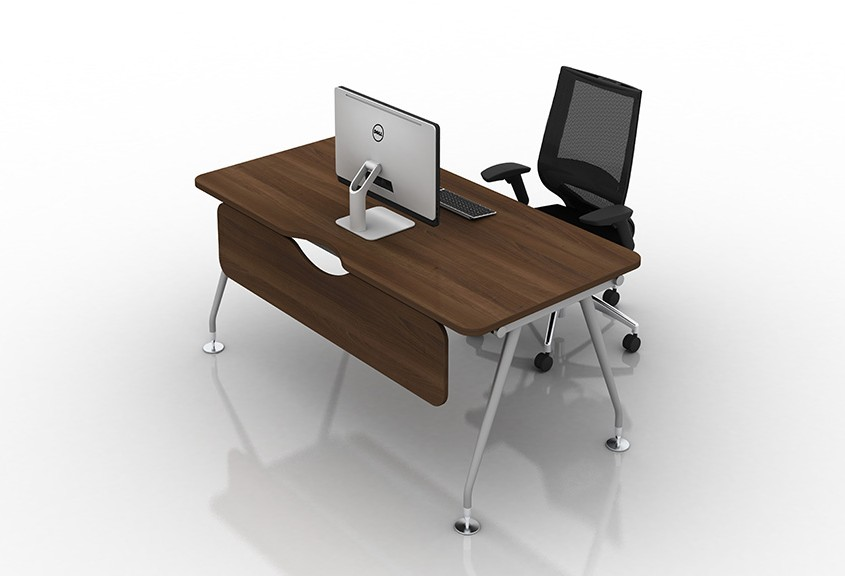 Vega single rectangular walnut desk