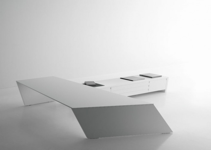 Guialmi Origami Desk with Credenza in White Laquer