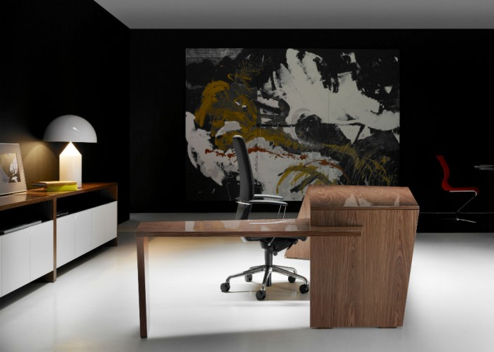 Guialmi Origami Desk with Return in Poliester Walnut