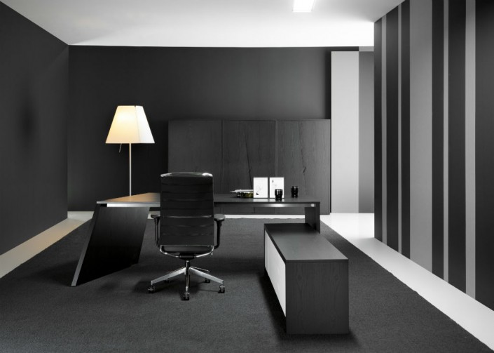 Origami Black Ash Veneer and Glass Executive Desk with Credenza Unit
