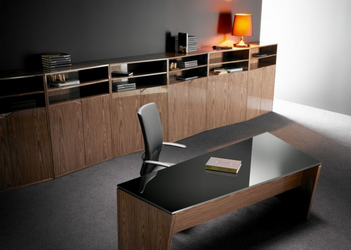 Guialmi Origami Basic Desk with Black Glass Top in Poliester Walnut