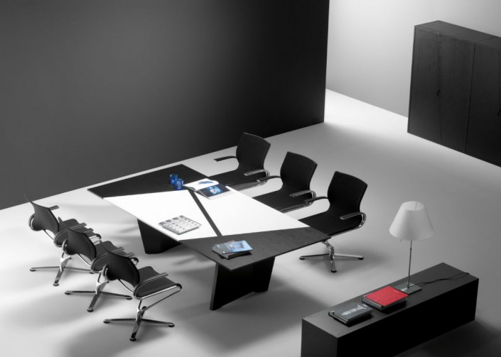 Guialmi Origami Meeting Table in Black & White Veneer with Wireless Charging