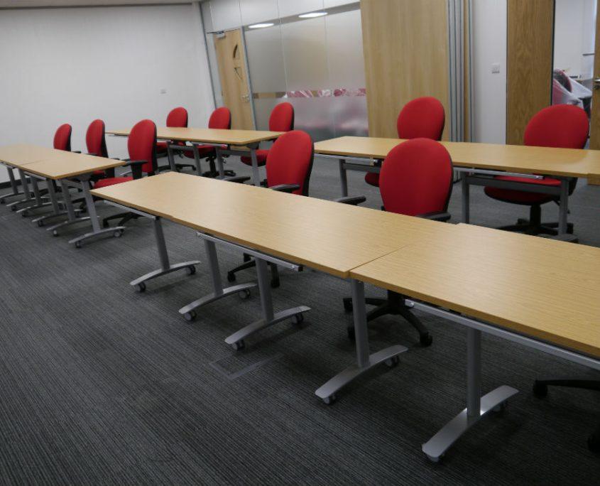 Office Refurbishment - Training Room Furniture - Meeting Room Furniture - Tilt top Tables - Folding Tables