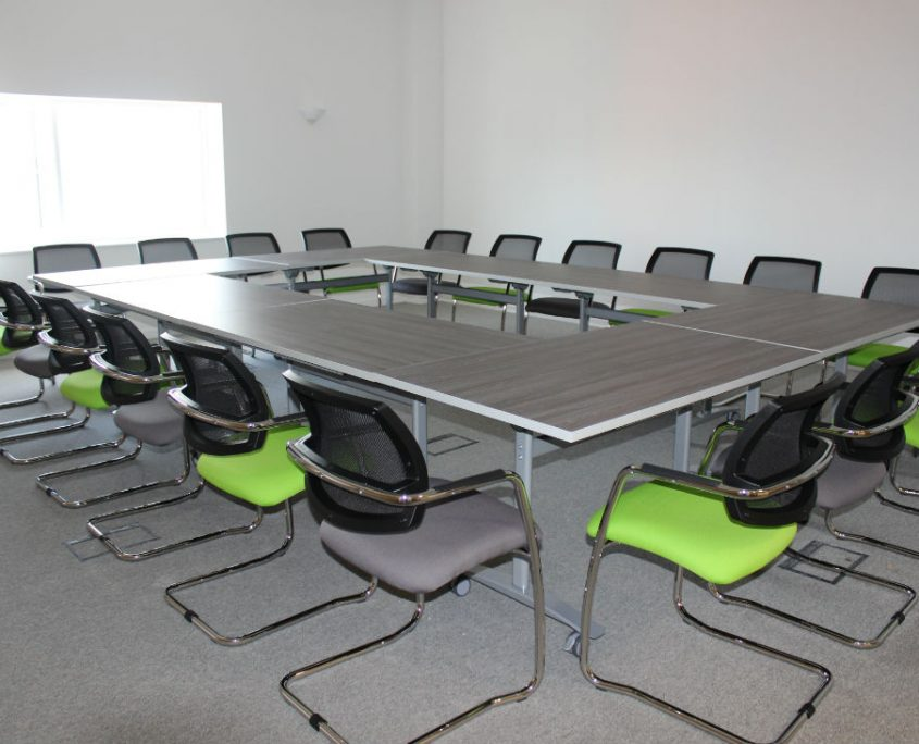 Office Space Planning - Mesh back Meeting Chairs - Training Room Tables - Tilt top tables