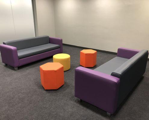 Onefile hexagonal stools and sofa.