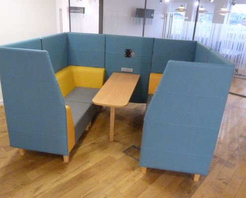 Four seater vinyl booth