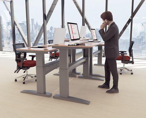 Sit stand desk | Height adjustable desks | Bevlan office interiors