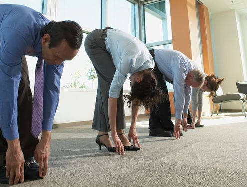 Yoga class in the office.