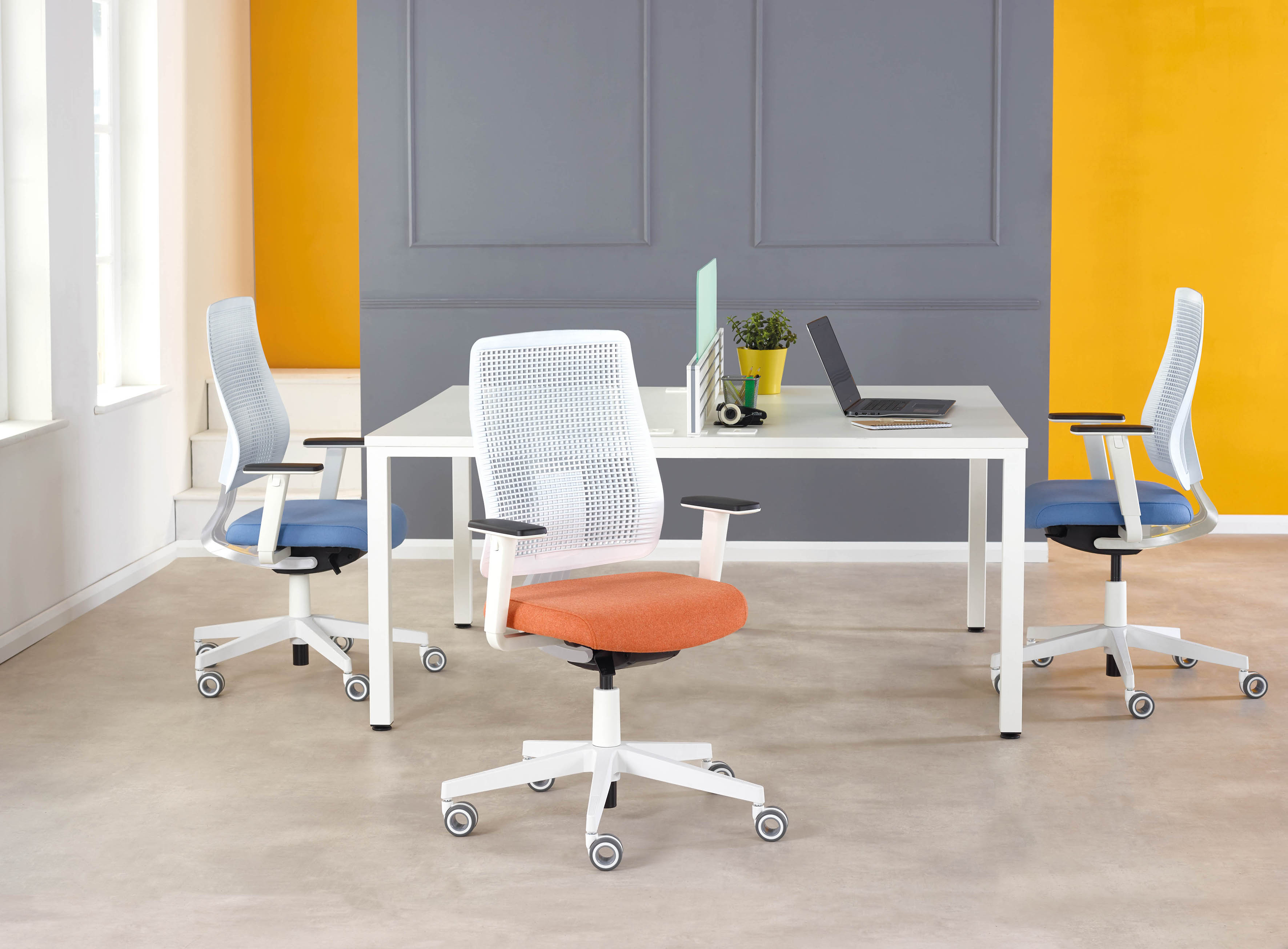 Ensemble white chairs