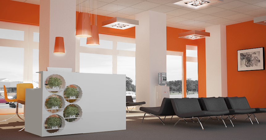 An image of the Medical Centre Reception featuring white reception counter, bright orange walls and tall windows