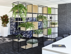 Image of shelving unit Konnect featuring biophilic design