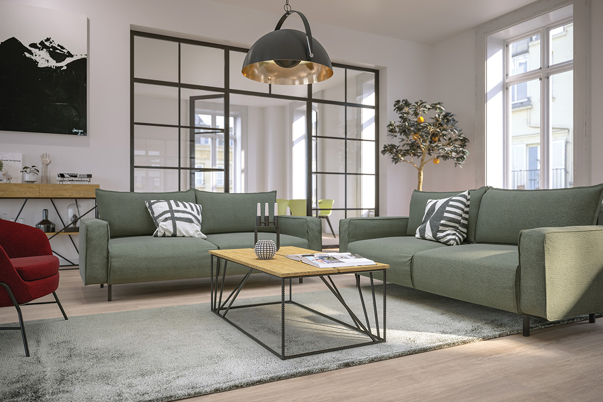 Image of two sofas and a coffee table within a reception area