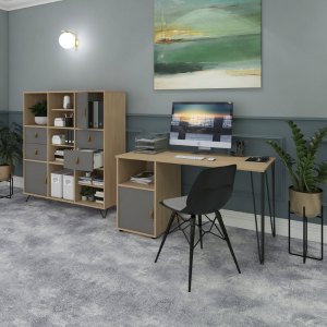 Tikal Desk and Shelving unit in a grey home office
