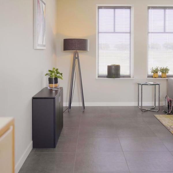 A black space-saving home office desk