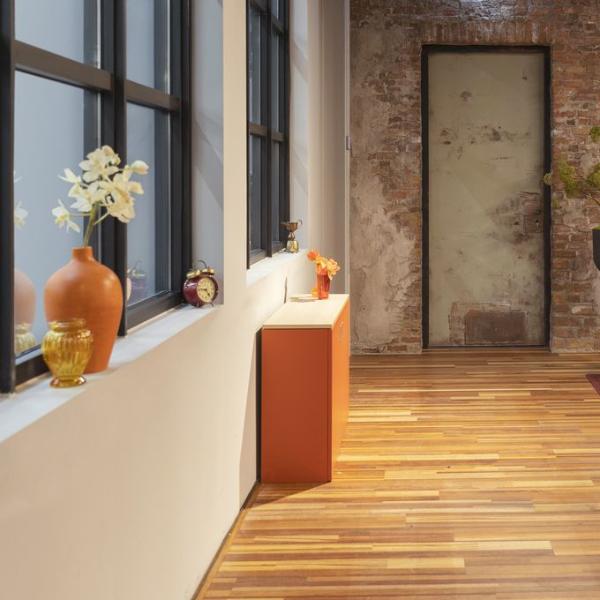 Orange space-saving cupboard desk