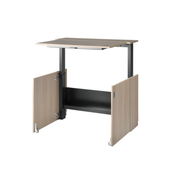 Wooden-finish HomeFit Desk by Nomique height-adjusted