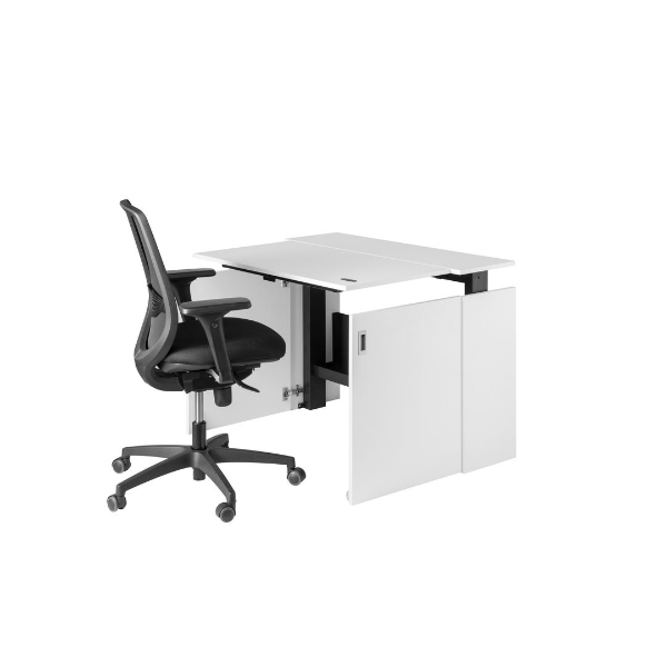 White HomeFit Desk by Nomique with a black office chair