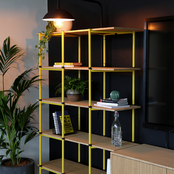 Bamboo eco-friendly storage made with recycled plastic bottles and sustainable materials. Shelving, cabinets, cupboards, desks, lamps and more