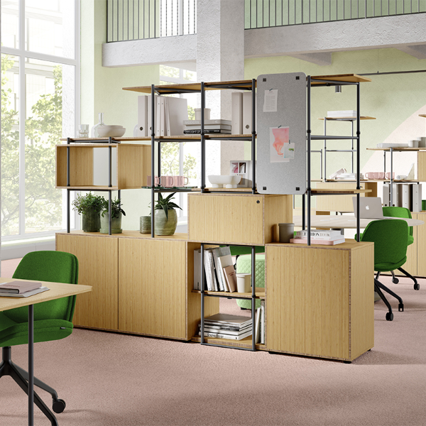 eco-friendly storage made with recycled plastic bottles and sustainable materials. Shelving, cabinets, cupboards, desks, lamps and more