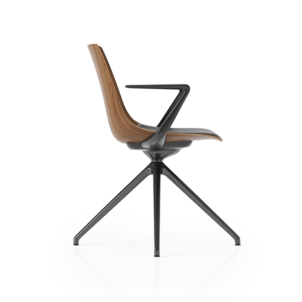 Ola Product Picture - 4-star base bistro chair with wooden shell finished in American Black Oak. With Armrests and tilt mechanism. Side view