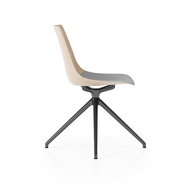 Ola Product Picture - 4-star base bistro chair with wooden shell. Side view