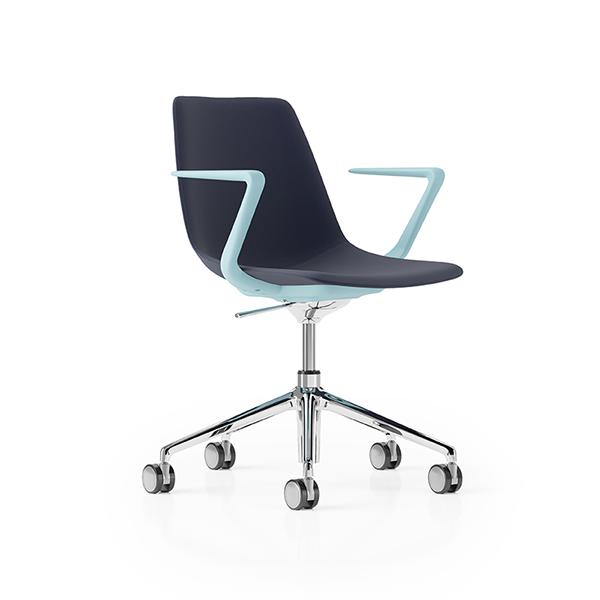 Ola Product Picture - 5-star base bistro chair on wheels finished in blue. Upholstered. Front view